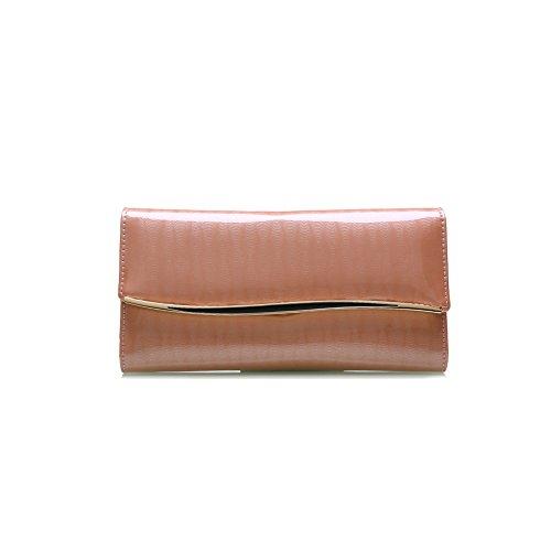 PU Piega Lunga Pelle moda donna Portafoglio borsa Ecopelle Wallet raccoglitore Pocket Portamonete Albicocca