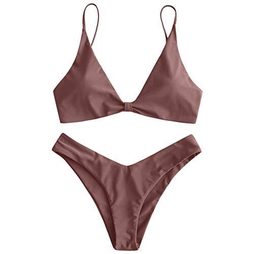 ZAFUL Gepolsterte Bikini Set, Push Up Badeanzug mit Vorderknoten-Hinterhaken-Stil in einfarbige Bademode Sommer (Bräunlich Rosa, S)