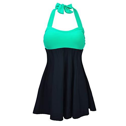 FDJLK537 Damen Plus Size Floral Badeanzug mit V-Ausschnitt zweiteilig Pin Up Tankini Bademode, Mutterschaft Bademode,Green,XXL -