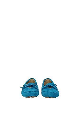 1D530BOTTANIO Prada Mocassins Femme Chamois Bleu Bleu