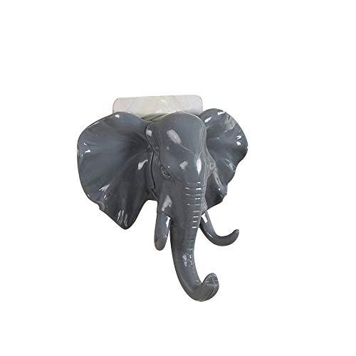 Bobopai Elephant Head Hook,Living Room Bedroom Clothes and Hats Hook,Elephant Head Self Adhesive Wall Door Hook Hanger Bag Keys Sticky Holder (Gray) -