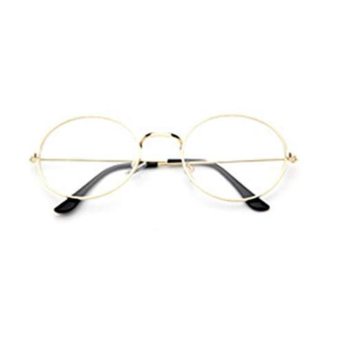 SNXIHES Sonnenbrillen Günstige Kleine Runde Nerd Brille Klare Linse Unisex Gold Runde Metallrahmen Brillengestell Optische Männer Frauen Schwarz Uv 6