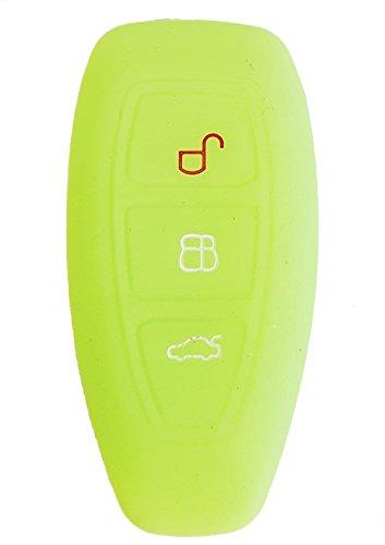 CK+ Ford Auto-Schlüssel keyless Hülle Key Cover Case Etui Silikon für Focus Kuga Mondeo Galaxy - Leuchtend Grün (Ford Leuchten)