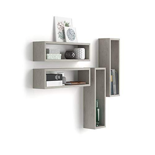 Mobili fiver, set di 4 cubi da parete iacopo, cemento, 59 x 15 x 17 cm, nobilitato, made in italy, disponibile in vari colori