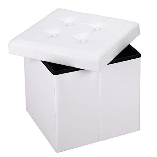 Deuba Faltbarer Sitzhocker Sitzwürfel mit Stauraum & Deckel Weiß Kunstleder 38x38x38cm, Polsterhocker Kinder faltbar