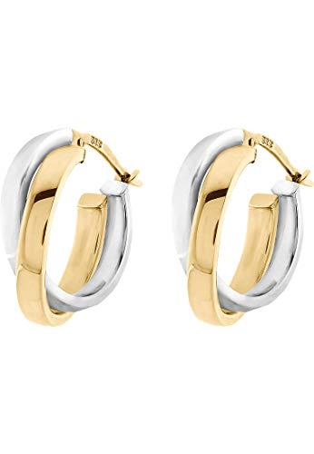 CHRIST Gold Damen-Creole 585er Gelbgold, 585er Weißgold One Size 84152234