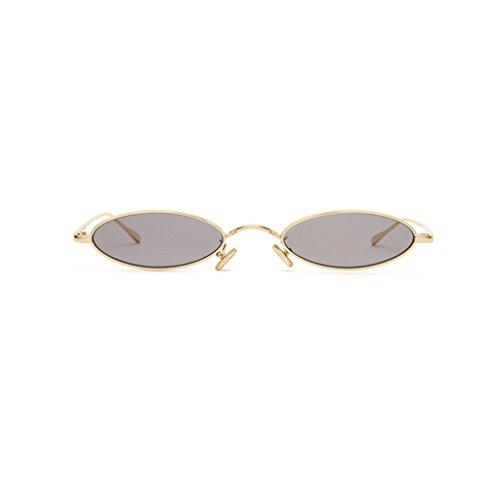 Taiyangjing haiying Sonnenbrille Mode Metall klein oval Cat Eye Sonnenbrille für Frauen Retro Marke Designer Rot Sonnenbrille Männer klein rund Brille Damen grau (Retro-designer-kleidung)