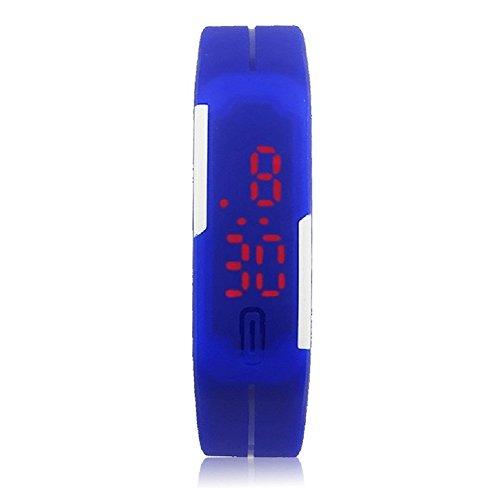 Baini unisex gomma LED ultra sottile sport orologio da polso digitale blu