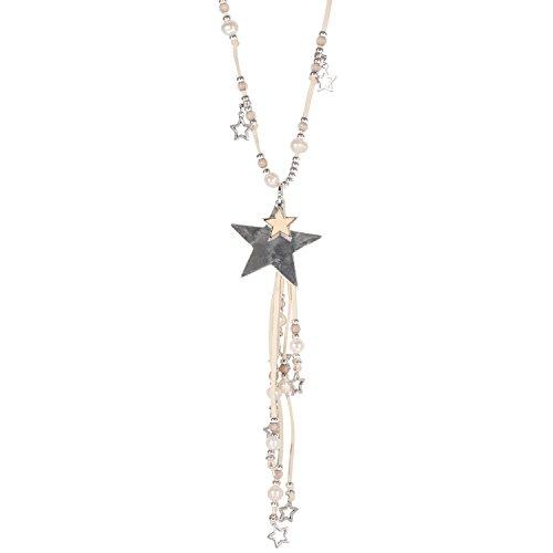 Collier Sautoir Fantaisie Cordon Suédine Blanc 75 cm / Perles et Etoiles en Métal Argenté, Nacre et Perles Synthétiques