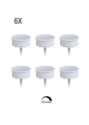 6x Extra Flache Keramik GU10 MR16 LED Modul 50mm Reflektordurchmesser 20mm Körperlänge Dimmbar 5W 425 Lumen Warmweiß 3000K, Direkter Anschluss an 230V, Es Wird Kein Trafo Benötigt, PF0,98 120 Grad Abstrahlung für Standard Einbaustrahler 50 Mm-modul