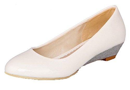 VogueZone009 Femme PU Cuir à Talon Bas Couleurs Mélangées Tire Rond Chaussures Légeres Blanc