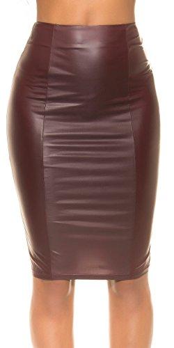 KouCla Wetlook Pencil Skirt - Bleistiftrock Lederoptik mit Zip Schwarz Bordeaux S,M,L (M, Bordeaux)