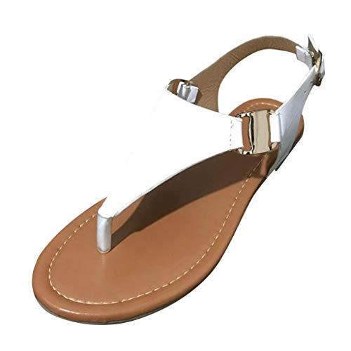 Bluestercool Donna Sandali Perizoma Punta Aperto Donna Sandali Estate Flip Flop Cinturino alla Caviglia Piatto Bassi Moda Sandali da