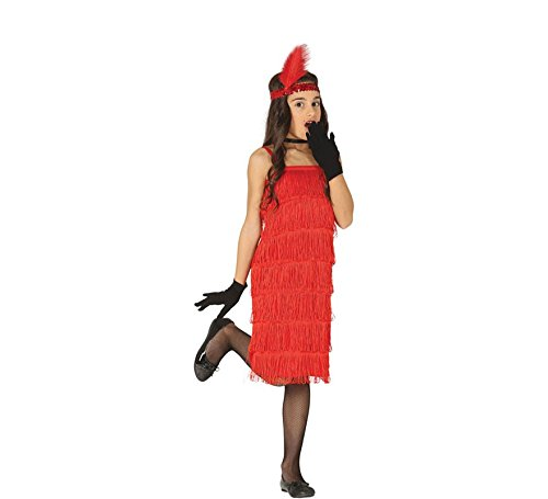 Rotes Flapper Kleid 20er Jahre Kostüm Kinder Mädchen (Flapper Mädchen Kostüm Rot)
