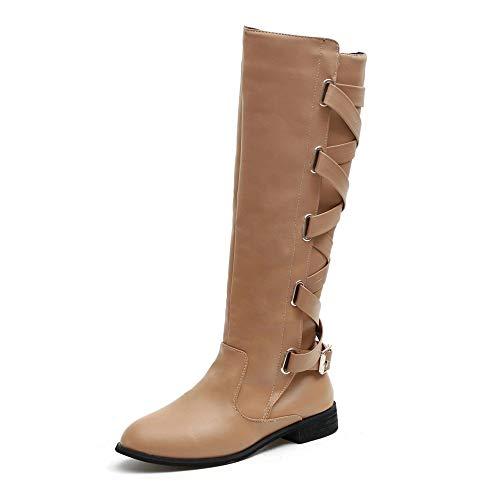 5f0bf583 JiaMeng Zapatos Combat con Correa Moda Mujer Fashion, Zapatos con Hebillas  Roman Riding Knee High