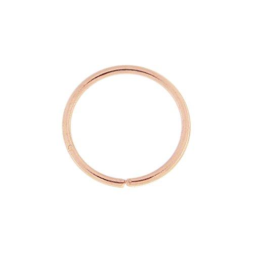 14K Rose Gold 22-g - 6MM Durchmesser nahtlose kontinuierliche offene Hoop Nasenring Nase Piercing (Rose Gold Und Weißgold Ringe)