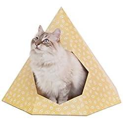 Design for pussies Cat Tipi–Design Panier pour Chat en Haut de Gamme, Carton Solide L 100% Matériau Naturel L Gratuit DIY Arbre à Chat Pad, Attrape-Rêves Jouet, Herbe à Chat