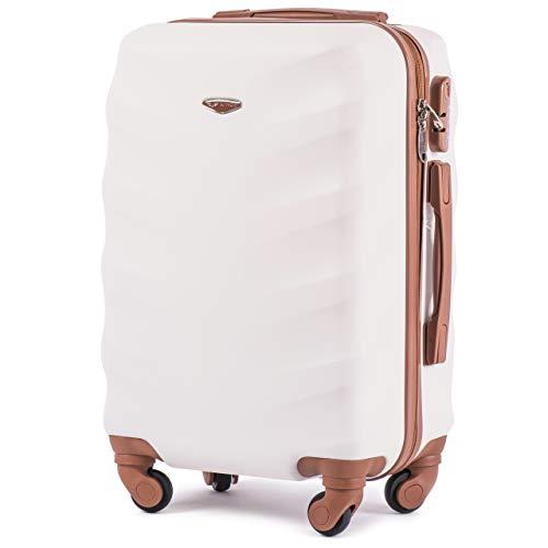 VINCI LUGGAGE Geräumiger Kabinentrolley - Leichter Flugzeugkoffer - Luxuriöser und moderner Koffer mit zweistufigen Teleskopgriff und Kombinationsschloss (Schmutziges Weiß, S)