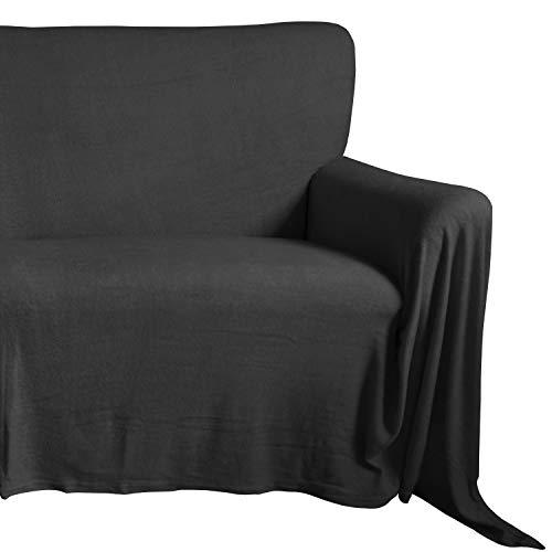 Qool24 Sofaüberwurf Frottee Couchüberwurf Sesselschoner Sesselüberwurf Tagesdecke Schwarz 100 x 170 cm