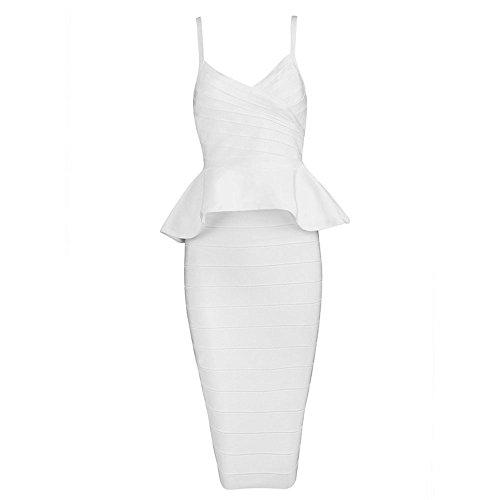 HLBandage 2 Piece Set Spaghetti Strap Falbala Peplum Knee Length Bandage Dress Blanc