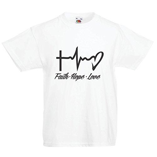Kinder Jungen/Mädchen T-Shirt Glaube - Hoffnung - Liebe - 1. Korinther 13:13, christliche Zitate und Sprichwörter, religiöse Sprüche (14-15 Years Weiß Mehrfarben)