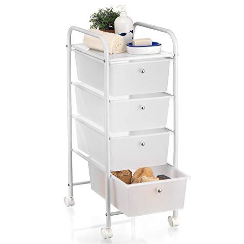 IDIMEX Badregal Rollwagen Rollcontainer GINA, mit 4 transparenten Schubladen und Metallgestell in weiß -