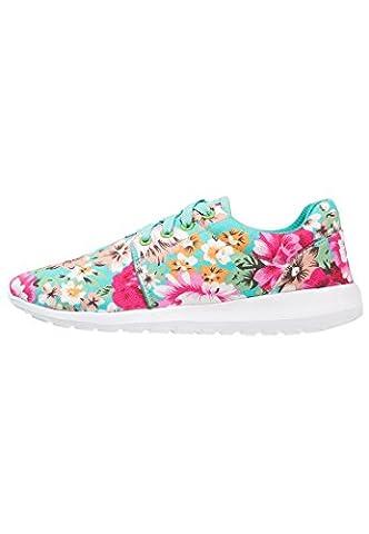 Sneaker Damen Turnschuhe Low in Mint-Grün mit Blumenmuster, Größe 42