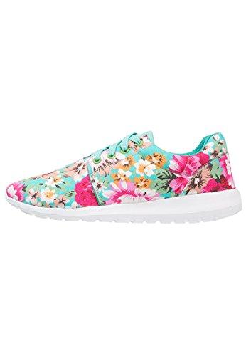 Anna Field Sneaker Damen Low in Weiß, Schwarz, Blau oder bunt mit Muster - Turnschuh Frauen mit Blumenmuster, Halbschuh mit Tiermuster Blumenmuster - Mint / Pink / Beige