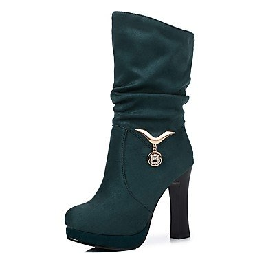 Heart&M Da donna Scarpe Pelle nubuck Autunno Inverno Comoda Stivaletti Quadrato Punta tonda Per Nero Viola Verde green