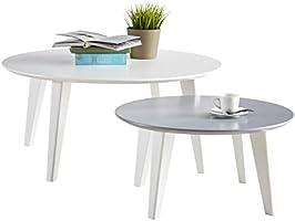 Demeyere 499015 Round Set de Table Basse Blanc/Gris 78 x 78 x 35,5 cm