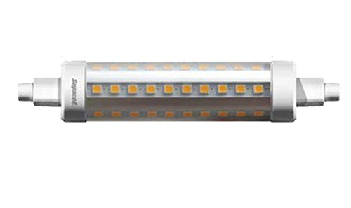Pilas AA Supacell LED R7bombilla de luz de inundación,118mm Longitud x 23,5mm de diámetro SMD luces LED,10W,Pure Color Blanco 4000K/1000lúmenes/50W halógena Reemplazo directo de bombilla/20.000horas de vida media/No regulable/100 a250V suministro,360grados Ángulo de haz/50a60Hz/SKU: SLR7-10-IN.