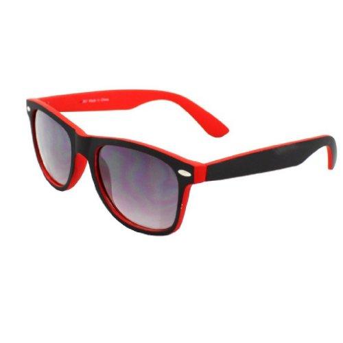 4sold New Two Tone Red & Black Klassische Unisex (Männer, Frauen) Aussenseiter-Art Retro-1980er Mode Sonnenbrillen mit geräuchertem Objektive Offe (black red) (Wayfarer Two Tone Sonnenbrille)