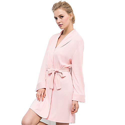 Soft Knit Langarm (Bademäntel Womens Soft Knit Nachtwäsche Kimono Kragen Long Lounge Wear Langarm Nachtwäsche, Für All Seasons Spa Hotel Pool Nachtwäsche S-XL,S)