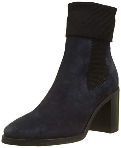 Tommy Hilfiger Damen Knitted Sock Heeled Boot Suede Schlupfstiefel, Blau (Midnight 403), 38 EU