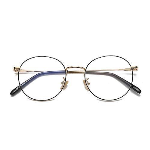 YMTP Frauen-Männer-Grad-Schutzbrillen-Rahmen-Weinlese-Runde Gläser Mit Transparenten Gläsern Edelstahl-Schauspiel-Rahmen Für Frauen, Schwarzes Gold