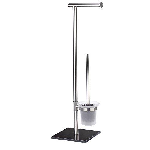 Wenko 203911000 Edelstahl Stand WC-Garnitur Lima - Edelstahl rostfrei/Sicherheitsglas, 23.5 x 69 x 20 cm, schwarz