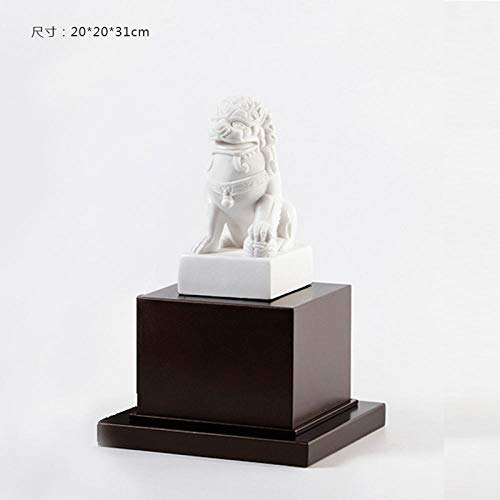 GOUDAIDAI Geschenk für den Lehrer Wohnzimmer Büro Display männlichen Löwen Handwerk Modell Haus Verkaufsbüro weiche Dekoration Zen Ornamente, weißer Löwe Links - Outdoor-löwen-statuen