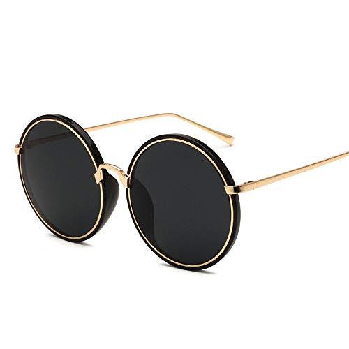 Summer Sonnenbrille Koreanische Version Der Sonnenbrille Dame Kreisförmiger Metallinnenring,Schwarz