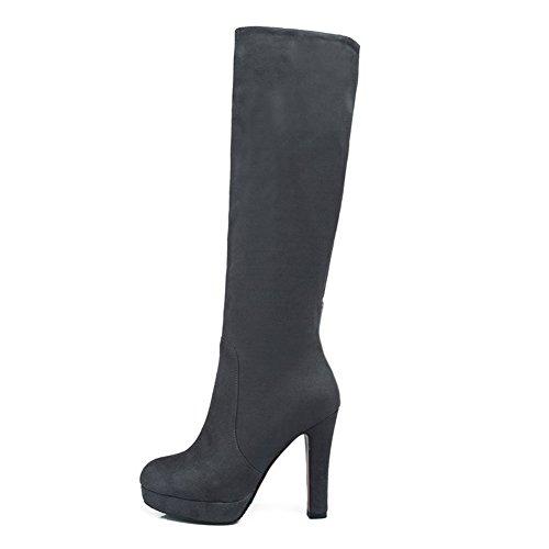 VogueZone009 Damen Blend-Materialien Hoher Absatz Schließen Zehe Stiefel Grau