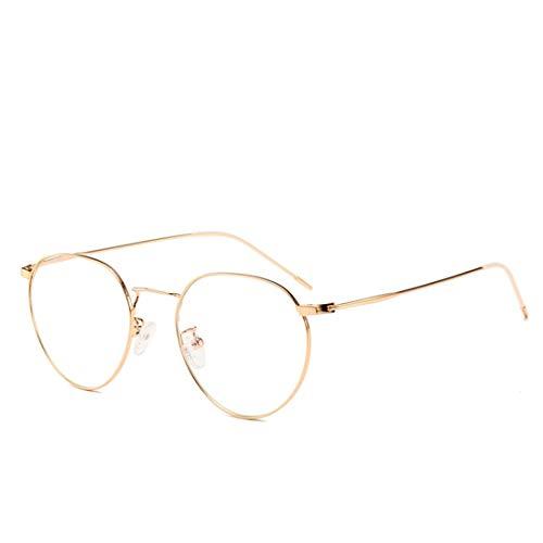 Mkulxina Bringen Sie antiblaue Gläser Rahmencomputergläser für Frauenmänner an, die Spielgläser lesen (Color : Gold)