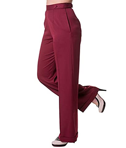 Banned Party On Wide Leg 40s Style Trousers Classic - UK 12 (M) / Red