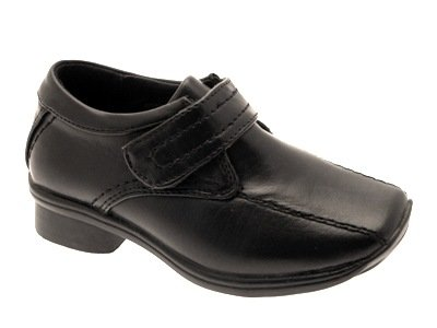 NEW BOYS CHILDRENS KIDS BLACK SCHOOL SHOES WEDDING FAUX LEATHER VELCRO SIZE 12