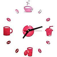 beautyjourney Vinilo para Pared Reloj de Pared Moderno con Espejo, Relojes de Pared de Acrílico 3D DIY Reloj de Pared Silencioso Reloj para Cocina, Oficina, Sala de Estar y Dormitorio