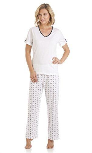Femmes Set Pyjama Nautique Modèle Coton Polyester Manches Courtes Été Blanc