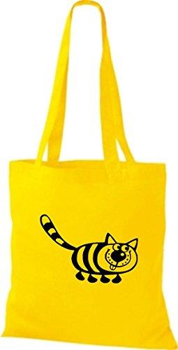 Shirtstown Stoffbeutel Tiere Katze Gelb