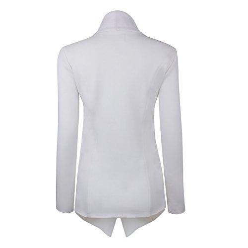 Cappotto Donna Elegante Giacca Moda Giovane Taglie Forti Manica Lunga A Pieghe Puro Colore Cardigan Sciolto Casual Trench Autunno Moda Giubbotto Bianco