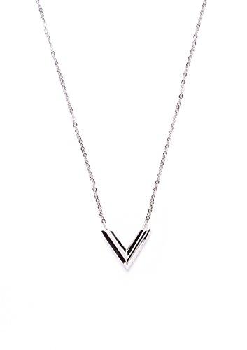 Happiness Boutique Damen Kette mit V Anhänger in Silber | Elegante Halskette aus Titan Minimalist Schmuck nickelfrei (Kostüm Schmuck Silber Halskette)