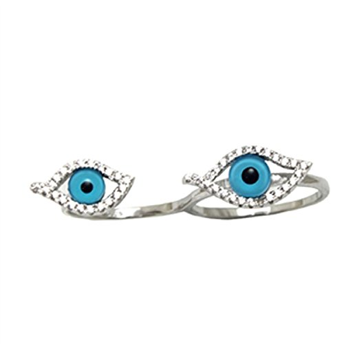 Argento Sterling Evil Eye CZ Anello due dita, argento, 62 (19.7), cod. (Evil Eye Anello)