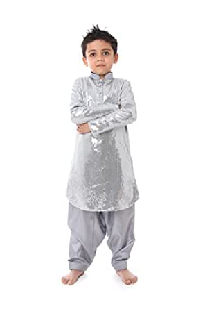 Kidology Boys' Sequined Pathani Suit (KD/B/KP/14/S1_Silver_2-3 year)