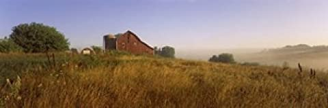 Panoramic Images – Barn in a field Iowa County near Dodgeville Wisconsin USA Photo Print (91,44 x 30,48 cm)